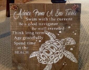 Rustic Barnwood Sea Turtle Sign