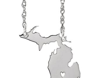 State Necklace with Heart, Michigan - All States Available - Sterling Silver, 10k Gold, 14k Gold, UP, Upper Peninsula