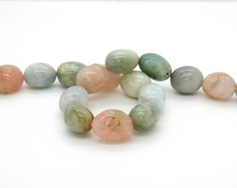 "Morganite Nugget Smooth Natural Gemstone Bead Beads, 15.5"" Full Strand"