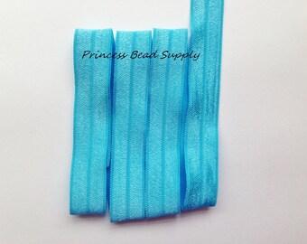 Turquoise FOE,  5/8 Fold Over Elastic,  3 yards, 5 yards or 10 yards Elastic By The Yard,  Headband Elastic, Hair Ties, Headband Supplies