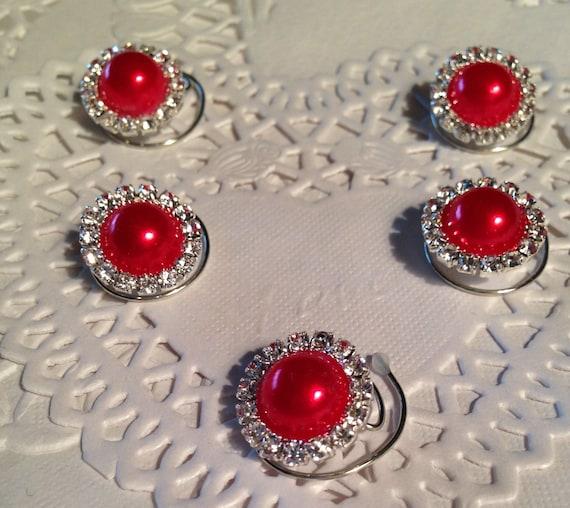 Ballroom Dancing Coils-Wedding Hair-Prom Hair Jewels-Rhinestones and Red Pearls Bridesmaids Hair Swirls Spins Spirals
