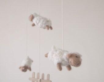 Nursery mobile - felted sheep mobile - baby crib mobile - nursery decor - counting sheep