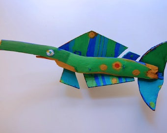Funky FISH ART - Colorful Blue, Green, Orange Whimsical Recycled Painted Wood Ready to Hand Door, wall Decor