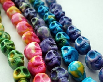 Ocean Jade Skull Beads Dyed  (12)