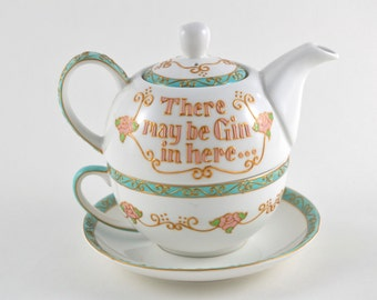 Be Gin In Here.... Hand painted Tea Set For One