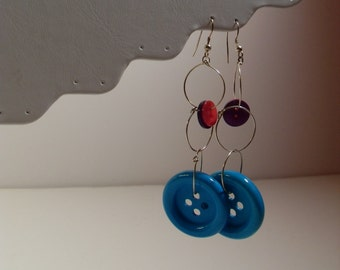 Turquoise Blue, Pink & Purple Button Hoop Earrings Dangly