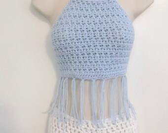 Hand Crochet FESTIVAL TOP, Crochet Lacy Design Hatler, Fringe Summer Top, Summer Wear, Beach wear,