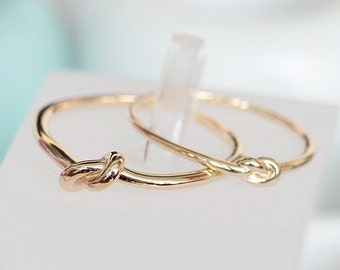 14K solid gold love knot ring, dainty bow tie ring, stacking ring, stackable ring, knuckle ring KNOT-R1002