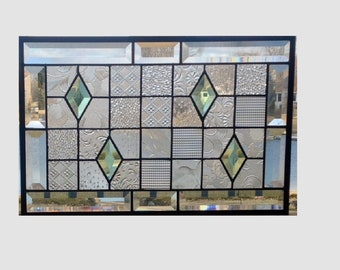 Beveled stained glass panel window geometric clear green quilt sampler stained glass window panel window hanging 17 1/2 x 11 1/2 0345
