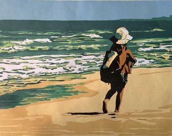 Beachcomber, blue sky original woodblock print