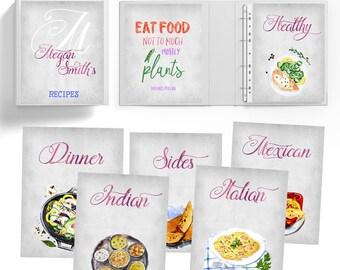 Recipe Binder Kit, Recipe Book Binder, Recipe Organizer, Personalized Recipe Book, Personalized Cookbook, CookBook Binder, Printable recipe,