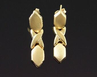 14k Hollow Dangle Criss Cross Dangle Earrings Gold