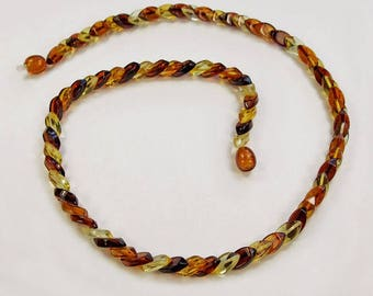 Overlapping beads Baltic amber necklace.