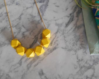 geometric yellow necklace, wood beads necklace, beaded necklace, colorful jewelry, colorful necklace, geometric yellow jewelry, gift for her