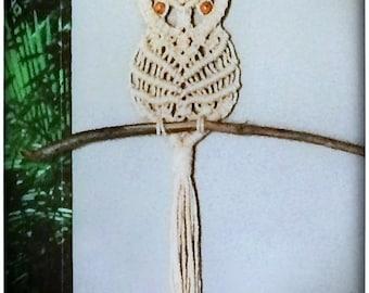 "Handmade Macrame Owl Wall Hanging 13.5""W x 19""L"
