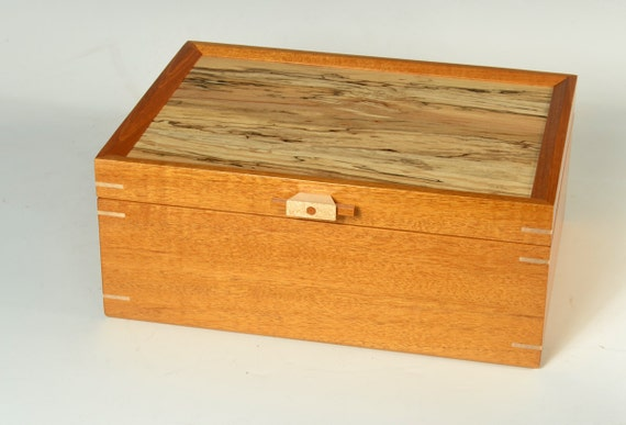 Mahogany Jewelry Box with Spalted Maple Lid