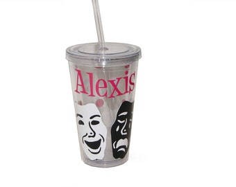 Personalized Acrylic Tumbler - Theater / Drama Masks
