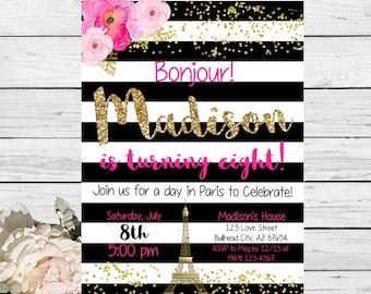 Paris Black & white stripes with peony flowers design personalized invitation- ***Digital File*** (Paris-BWStripe)