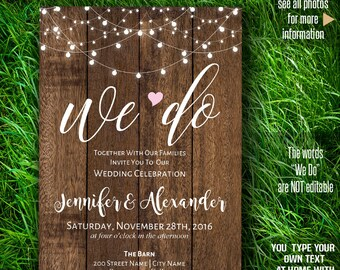 Printable We do Invitation, wedding Invite, Rustic Wedding, Barn wedding Templates, Instant Download Self-Editable PDF A208