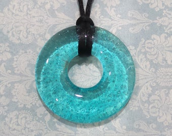 Aqua Blue Donut Pendant, Fused Glass Pendant, Transparent Blue Glass Necklace, Fused Glass Jewelry - Tropical Paradise -7