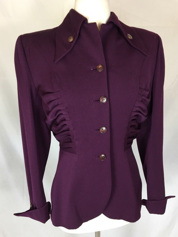 Vintage 1940s Mulberry Colored Lili Ann Gaberdine Jacket