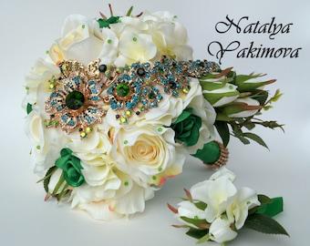 Sale. Brooch Bouquet, Bridal Bouquet, Silk, cascade, flowers, Wedding, Fabric Bouquet, Unique Bouquet, green, emerald, gold, ivory