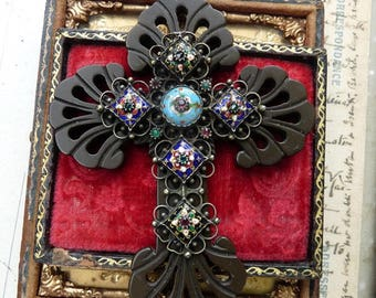 Antique Gutta Percha & French Champleve Enamel Cross, The Goddess Cross, by RusticGypsyCreations