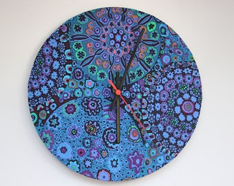 Fabric wall clock, Kaffe Fassett fabric, Millefiore design,Blues and Purples, contemporary clock, luxury home gift, housewarming present