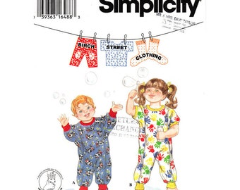 Toddler Romper Pattern Simplicity 9379 Snap or Button Front Jumper Booties Birch Street Clothing Size 1/2 1 2 3 4 UNCUT