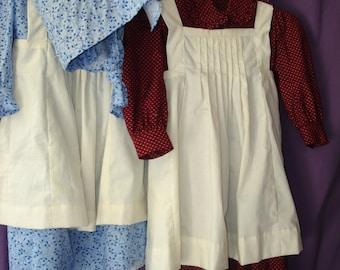 Girls' Prairie dress, pinafore, and bonnet size 6 - 10