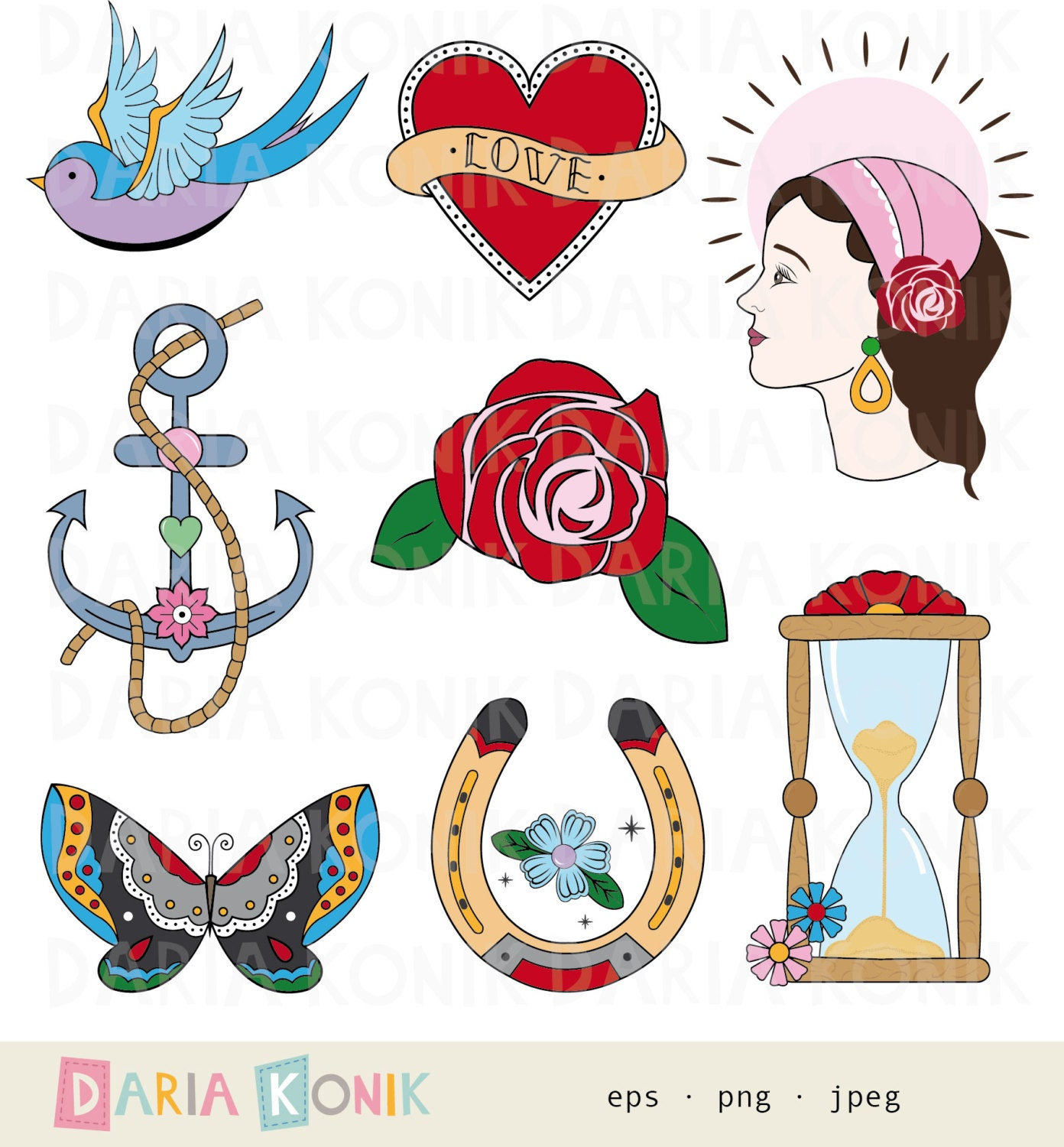 Tattoo Clip Art Set-traditional tattoo inspired rose
