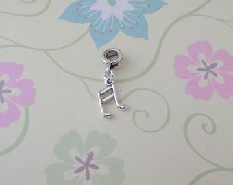Silver Music Note Charm for European Bracelets/Large Hole Bead/Charm - Ready to Ship
