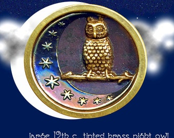 Button--Large Late 19th C. Brass Night Owl in Crescent Moon with Stars