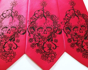 RokGear Necktie design - Mens Floral Skull tie Day of The Dead - print to order in colors of your choice