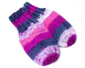 Wool-Free Purple Pink Baby Mittens on Cord. Hand Knit Thumbless Cordless Baby Mitts. Winter Mittens. Infant 9 to 12 Months Hand Warmers
