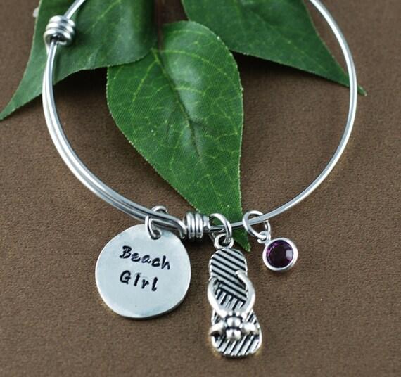 Beach Girl Bangle Bracelet - Flip Flop Jewelry - Beach Jewelry - Birthstone Jewelry - Hand Stamped Beach Jewelry - Gift for Beach Lover