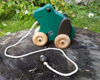 Handmade Wooden Frog Pull Toy