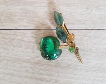 Vintage Venetian Glass Apple Pin