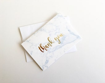 20-Pack: Marble Thank You Cards with Gold Foil Lettering