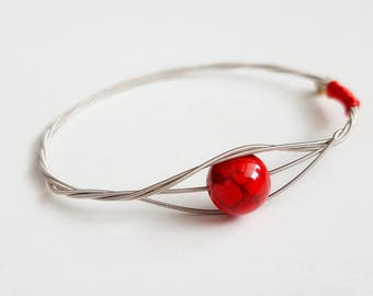 Good Luck, Love, Red Jewelry, Guitar String Bangle, Do Re Mi Bracelets, Do Re Mi, Gift for Her, Music Lover, Bridesmaid Gift, Unique Gift