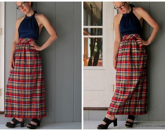 70s Halter Dress Colorful Blue Red Yellow Summer Backless Sun Dress Plaid Tartan Dress Strapless Neck Tie Dress Womens Small