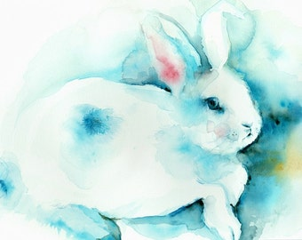"animal art, rabbit art,  ""Blue"" Large print-  children, nursery decor"