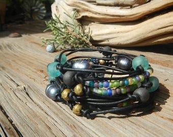 Boho Wrap Bracelet,  Leather Wrap,  Beaded Wrap,   Leather Bracelet,  Wrap Leather Bracelet JEWELRY