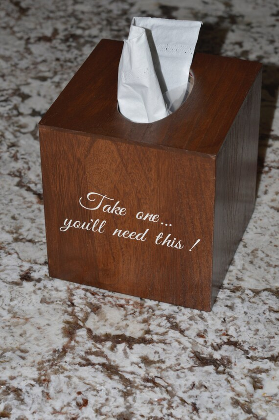 Personalized Wedding Tissue Klennex box cover - shabby chic - Crate & Barrel