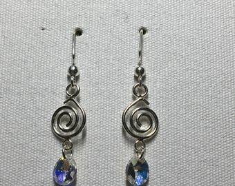 Swarovski crystal chandelier earrings with crystal AB charm
