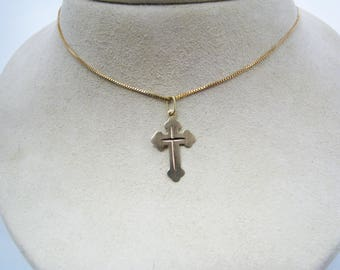 "c398 Gorgeous 14K Yellow Gold Cross Necklace on 18"" 14k Gold Box Chain"