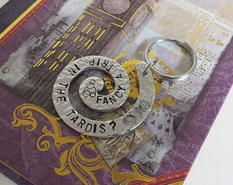 Fancy a Trip in the TARDIS? - Doctor Who Inspired Aluminum Swirl Key Chain Fob - Hand Stamped