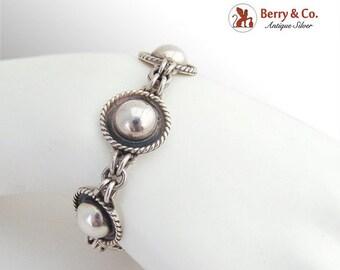SaLe! sALe! Mexican Round Link Bracelet Sterling Silver