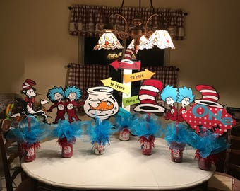 Dr Seuss cat in the hat themed centerpieces