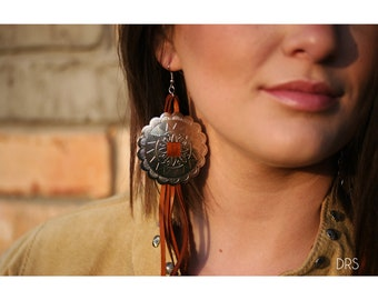 Handmade Deer Leather Long Earrings with a bronze / silver conchos western boho gypsy rodeo southwest by the Bijoux fab Light weight
